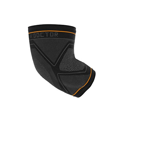 Shock Doctor Compression Knit Elbow Sleeve with Gel Support, Black/Grey, Adult-Large