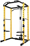 Title: HulkFit 1000-Pound Capacity Multi-Function Adjustable Power Cage with J-Hooks, Dip Bars, Lat...