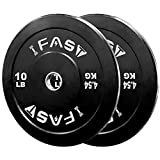 Olympic Weight Plates, Rubber Bumper Plates, 2 Inch Steel Insert for Home Gym Strength Training,...