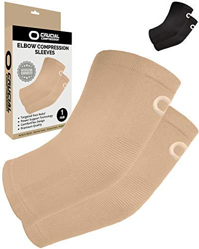 Elbow Brace Compression Sleeve (1 Pair) - Instant Support Elbow Sleeves for Tendonitis, Arthritis,...