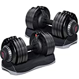 Merax Deluxe 71.5 Pounds Adjustable Dial Dumbbell with Weight Plate for Home Gym 2 PCS (2 x 71.5...