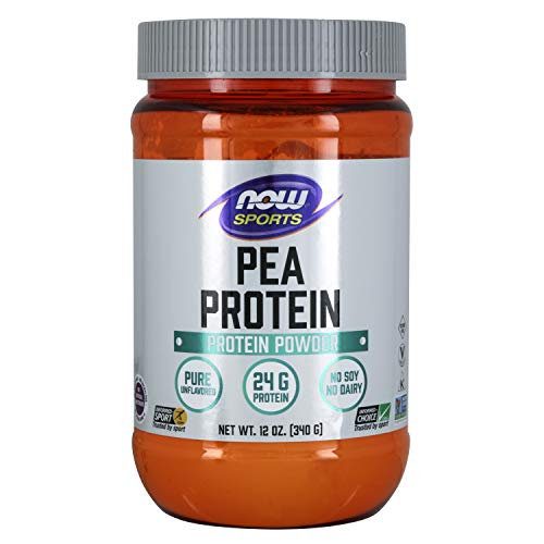 NOW Sports Nutrition, Pea Protein 24 g, Easily Digested, Natural Unflavored Powder, Beige, 12 Oz