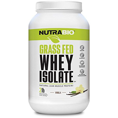 NutraBio Grass Fed Whey Isolate Protein Powder - 25G of Protein Per Scoop - Sugar Free Natural Lean...
