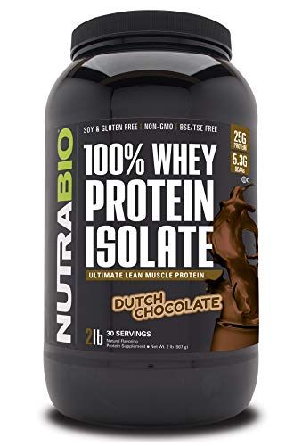 NutraBio 100% Whey Protein Isolate - Complete Amino Acid Profile - 25G of Protein Per Scoop - Soy...