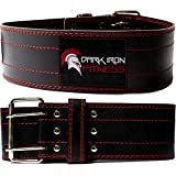 Dark Iron Fitness Genuine Leather Pro Weight Lifting Belt for Men and Women - Durable Comfortable...