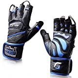 """Grip Power Pads Elite Leather Gym Gloves with Built-in 2"""" Wide Wrist Wraps - Leather Glove Design..."""