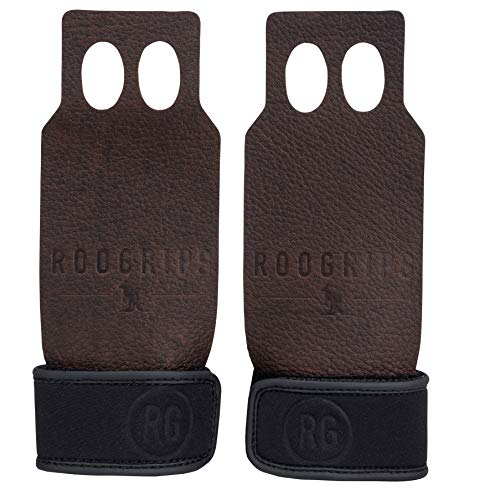 RooGrips Leather Hand Grips for Strength Training, Weightlifting, Gymnastics, Gym, Bar, Kettlebells...