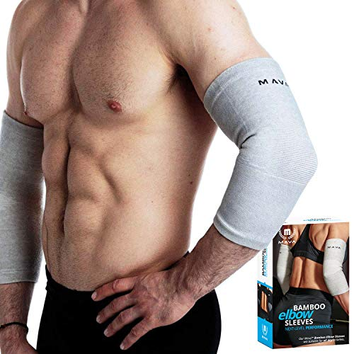 Mava Sports Bamboo Elbow Brace Compression Support Sleeve for Tendonitis, Tennis, Golf Elbow...
