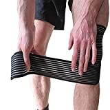 ANMKOT 2PCS Black Elastic Breathable Knee Pain Relief Straps Support Wraps Gym Squat Lifting Knee...