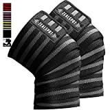 Z ZEALSPOT Knee Wraps(Pair) Compression & Elastic Support for Cross Training,WODs,Gym,...