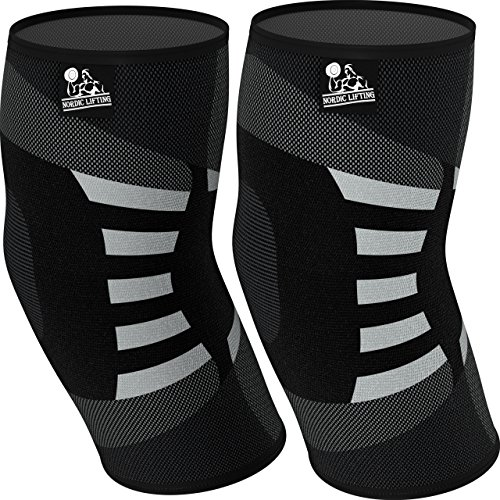 Elbow Compression Sleeves (1 Pair) - Support for Tendonitis Prevention & Recovery (Large)